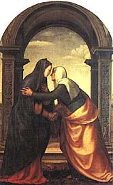 Painting of Elizabeth greeting Mary.