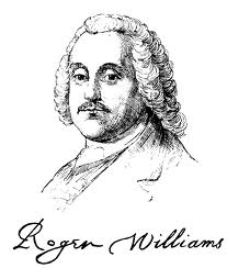 Drawing of Roger Williams with his signature